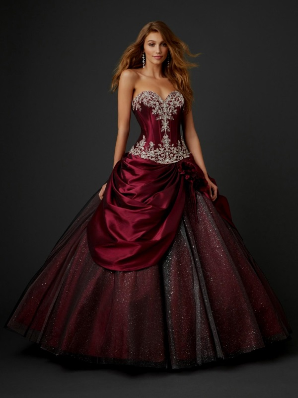 Red gown ball with sleeves best photo