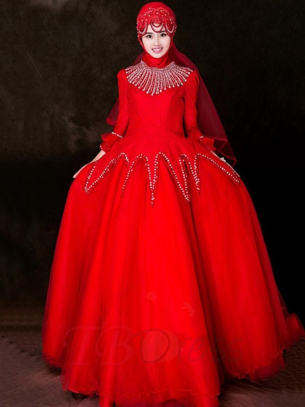 Red gowns ball with sleeves best photo