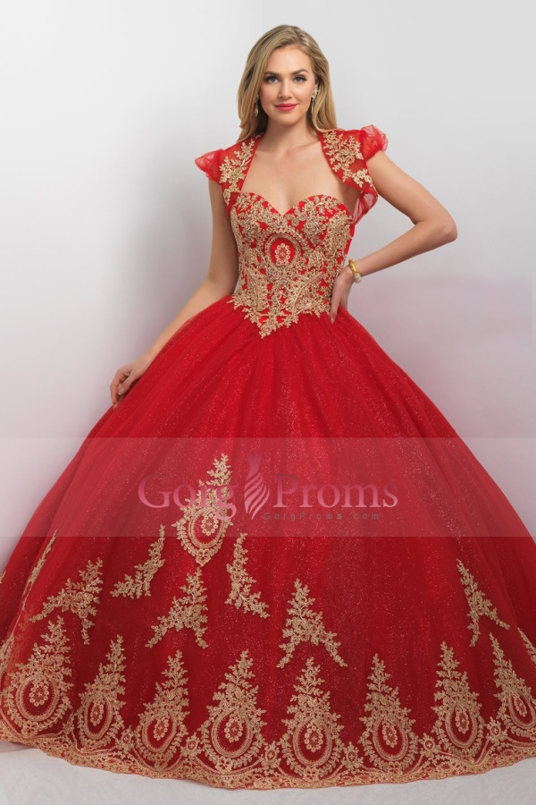 Red and gold quinceanera dresses