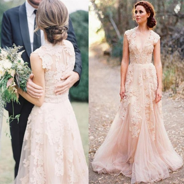 Reem acra blush lace wedding dress 2016 2017 b2b fashion for Vintage wedding dresses for cheap