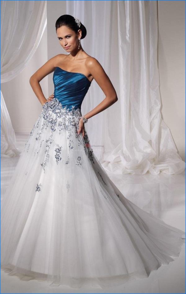 White And Royal Blue Wedding Dresses 2017 2018 B2b Fashion