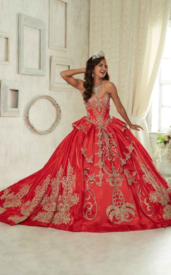 Quinceanera Dresses red and gold 2016-2017
