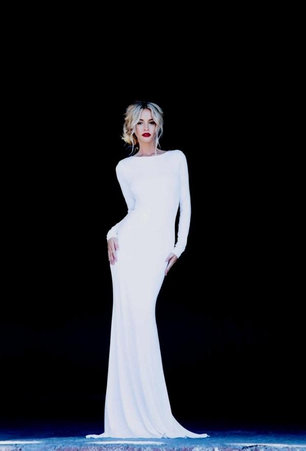 White long sleeve backless prom dress 2016-2017