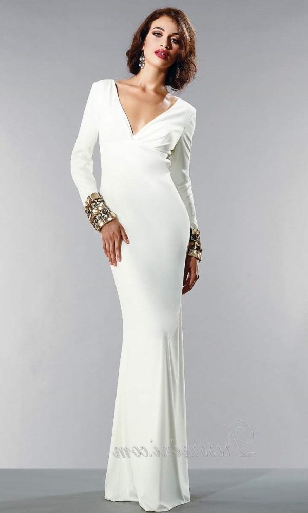 White long sleeve backless prom dress 2016-2017 | B2B Fashion