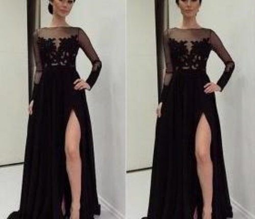 Black Long Sleeve Prom Dress 2017 2018 B2b Fashion