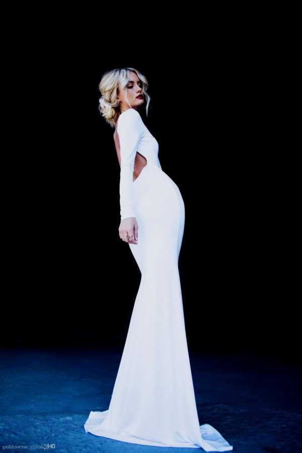 white long sleeve backless prom dress 20162017 b2b fashion
