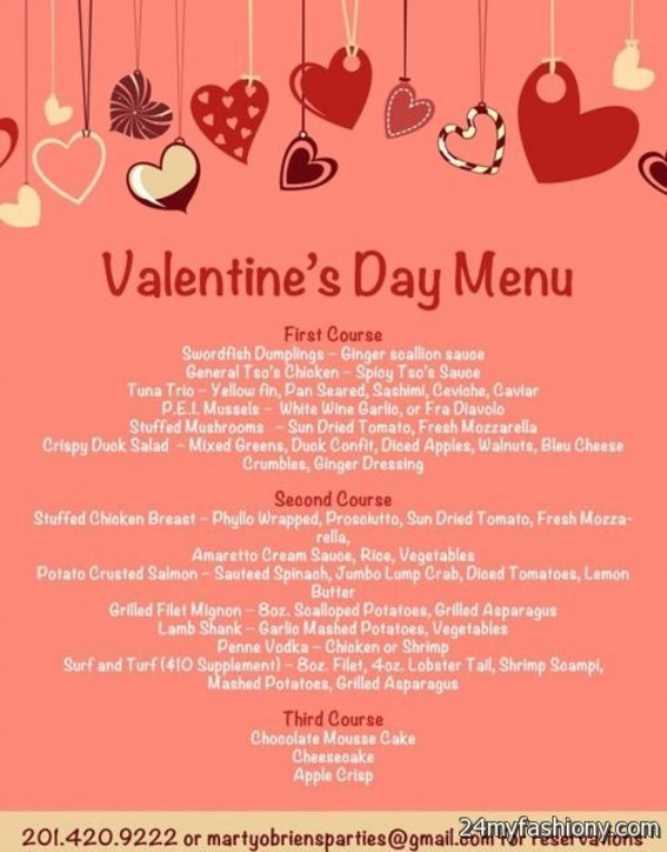 valentines day menu images 2016 2017