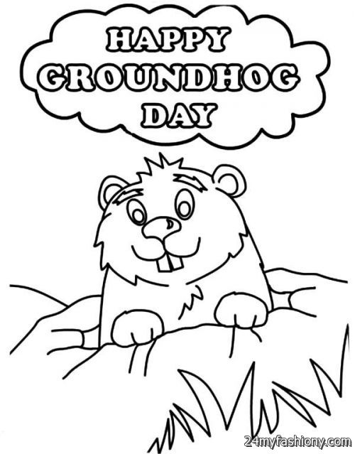 Happy Groundhog Day Coloring Page images 2016-2017 | B2B Fashion
