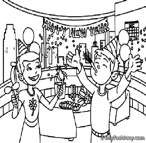 Happy New Year Coloring Pages Printables Images 2016 2017