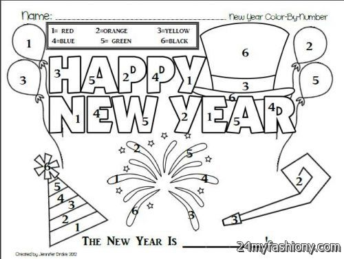 new years day coloring page images looks