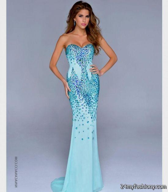 Aqua Mermaid Prom Dresses