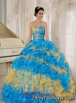 Baby Blue And Gold Quinceanera Dresses Looks B2b Fashion