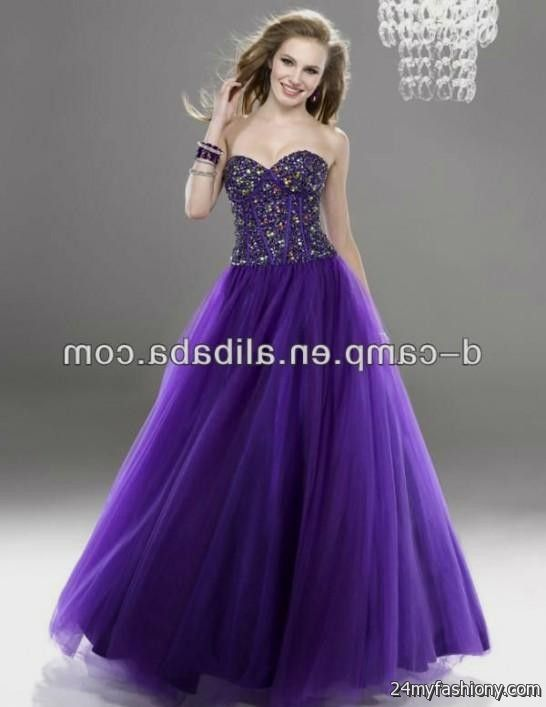Neon purple prom dresses