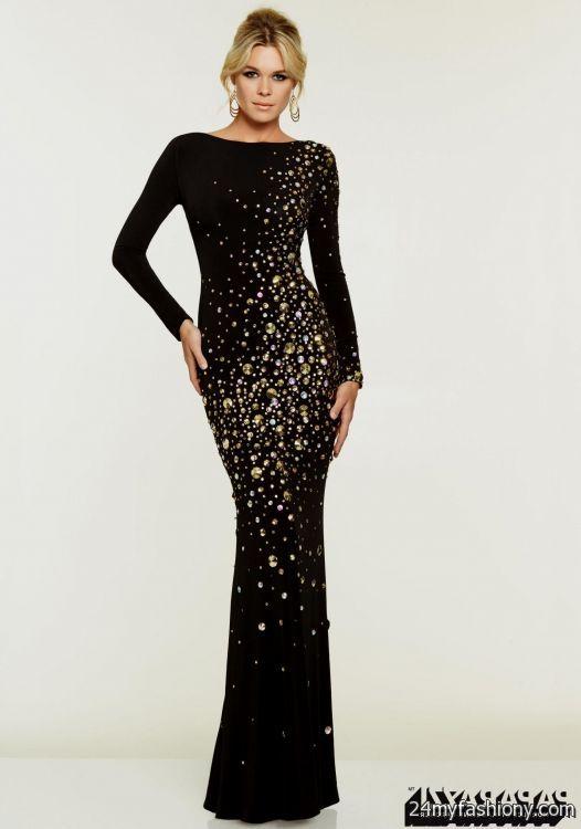 Black And Gold Long Sleeve Prom Dresses 2016 2017 B2b