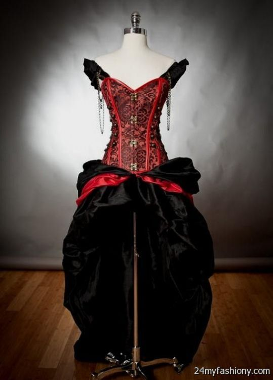 Black And Red Corset Wedding Dresses Looks B2b Fashion