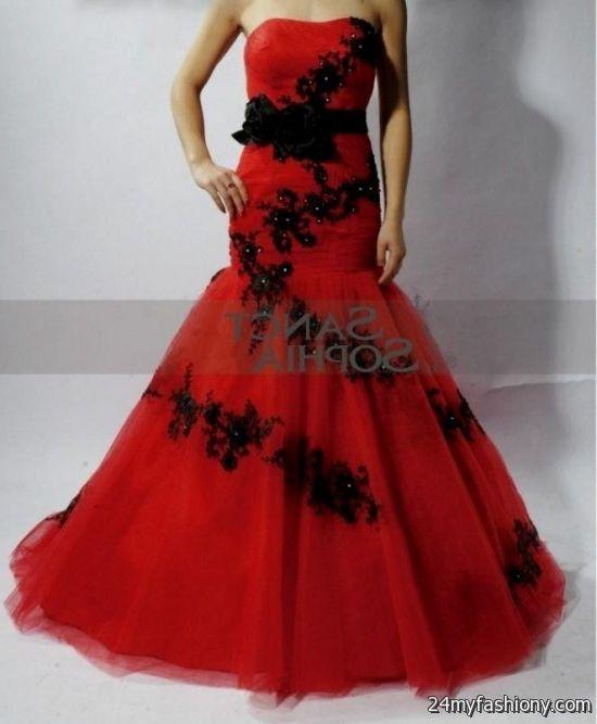 Red and black mermaid dresses 2017