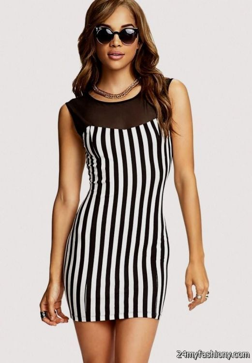 Black And White Striped Bodycon Dress Outfit Looks B2b