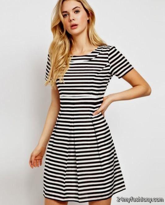 Black And White Striped Dress Outfit 2016-2017 | B2B Fashion