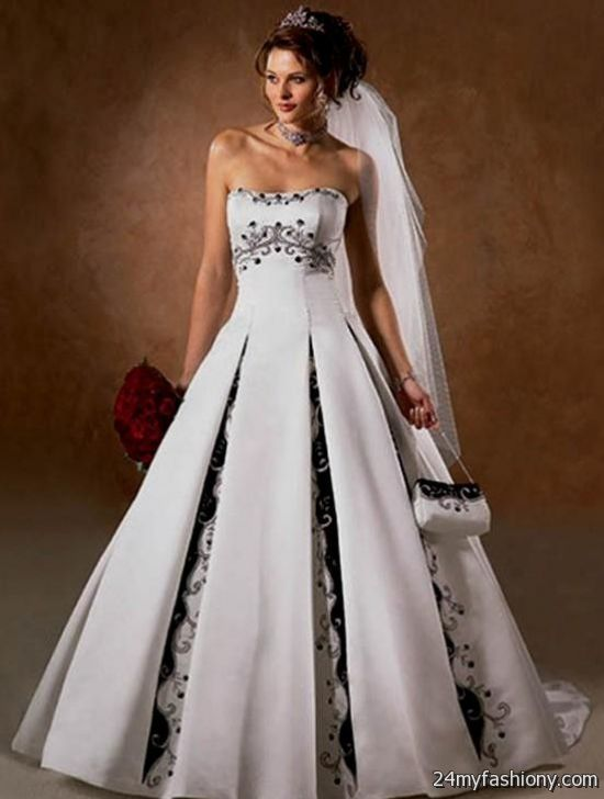 Black and white wedding dresses 2016 2017 b2b fashion for White wedding dress with purple accents