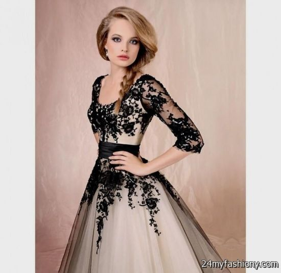 Black And White Wedding Dresses With Sleeves Looks