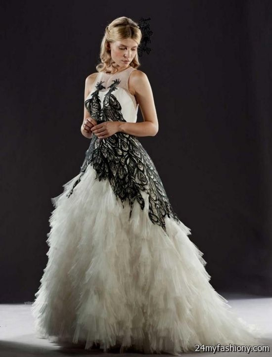 you can share these black and white wedding dresses with sleeves on