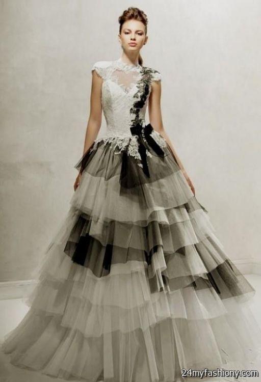 black and white wedding dresses with sleeves 2016 2017 b2b fashion