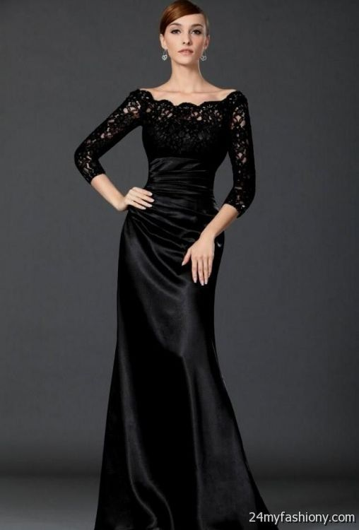 Black Formal Dresses With Sleeves Photo Album - Reikian