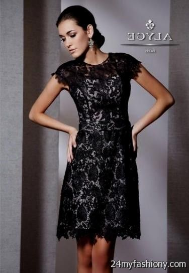 black lace cocktail dress with cap sleeves 20162017 b2b