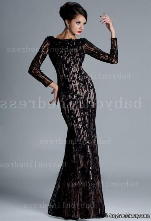 black lace gown with sleeves 2016-2017 | B2B Fashion