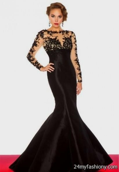 Prom Dresses With Lace Sleeves - Black Prom Dresses