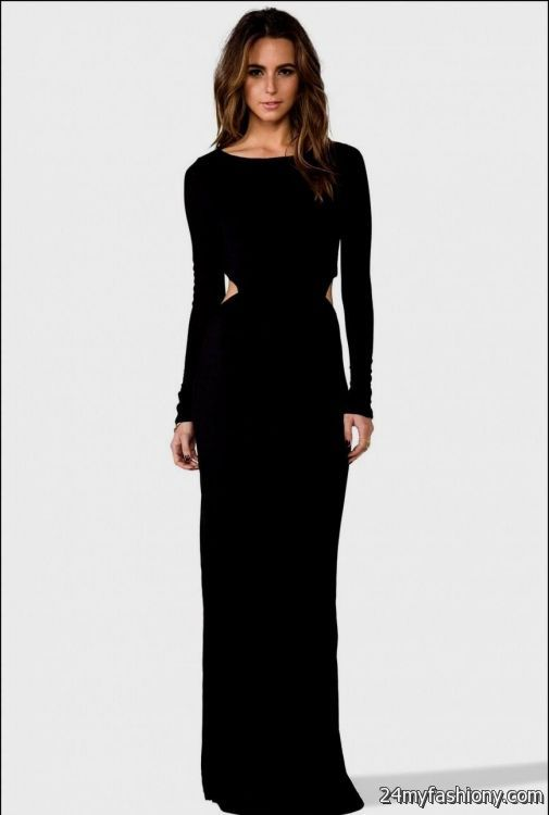 black long sleeve floor length dress 2016-2017 » B2B Fashion