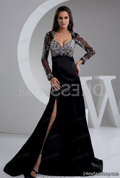 black long sleeve long evening dress 2016-2017 » B2B Fashion