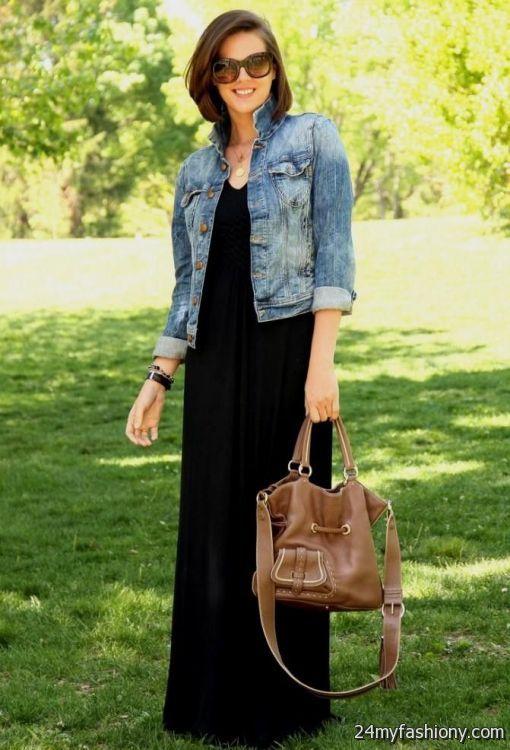 Black Maxi Dress With Denim Jacket Looks B2b Fashion