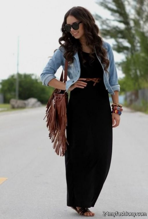 black maxi dress with denim jacket 20162017 b2b fashion