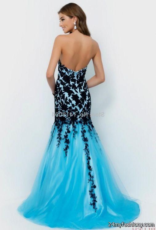 Blue And Black Lace Prom Dress Looks B2b Fashion