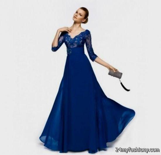 blue dresses with sleeves 2016-2017 » B2B Fashion