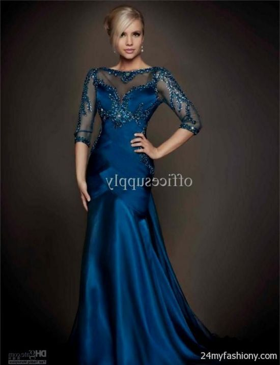 blue evening gown with sleeves 2016-2017 » B2B Fashion
