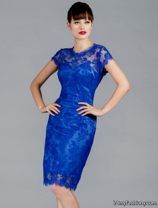 cocktail blue dress with lace sleeves
