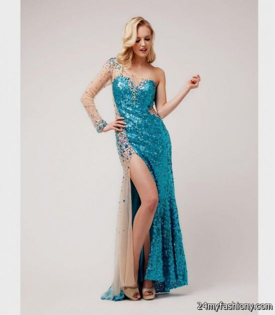 blue sparkly prom dress with sleeves 2016-2017 | B2B Fashion