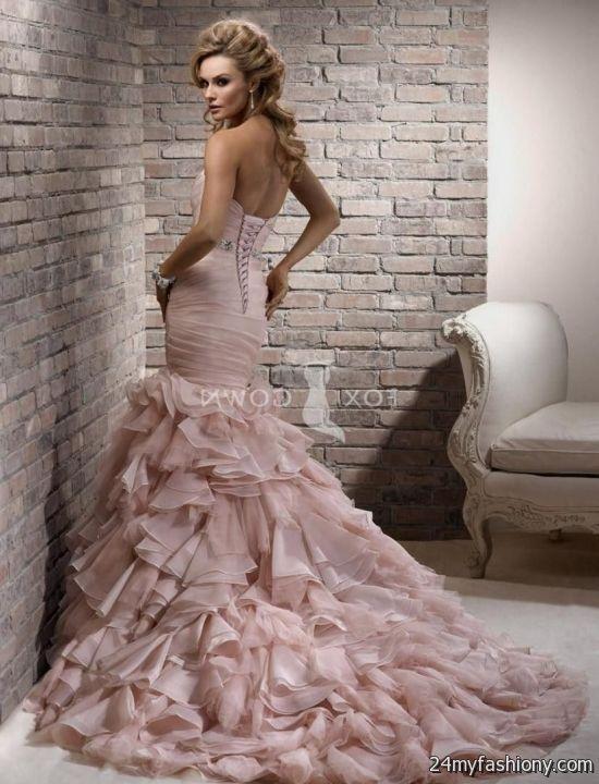 Blush pink mermaid wedding dress 2016 2017 b2b fashion for Pink wedding dresses 2017
