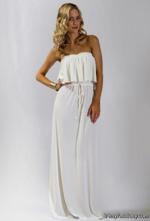 casual white strapless maxi dress 2016-2017 » B2B Fashion