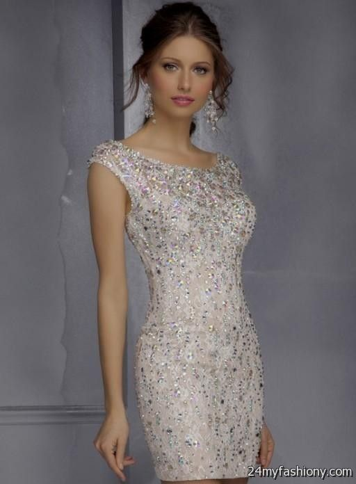 champagne beaded cocktail dress 2016-2017 | B2B Fashion