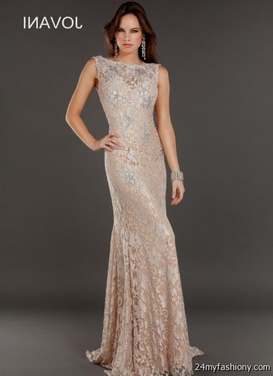 Champagne Lace Prom Dress