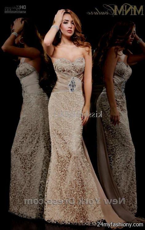 Champagne Mermaid Prom Dresses 2014