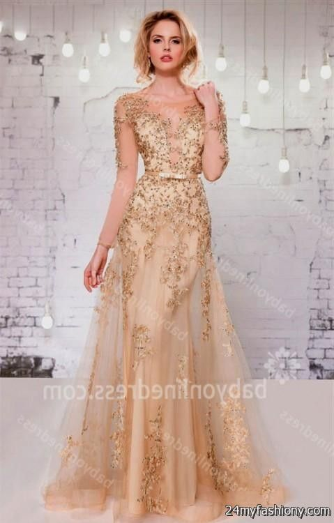 champagne sequin dress with sleeves 2016-2017 » B2B Fashion