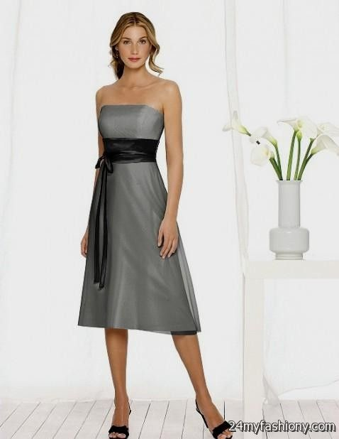 Charcoal tea length bridesmaid dresses 2016 2017 b2b fashion for Charcoal dresses for weddings