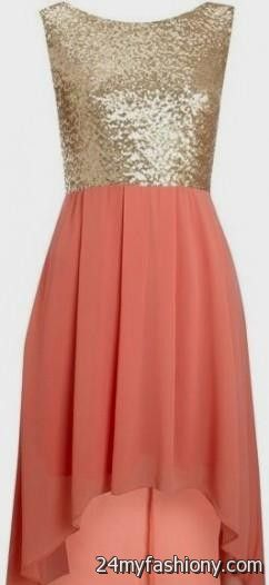 Coral and Gold Dress