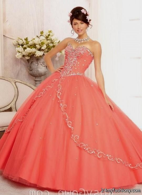 coral and gold quinceanera dresses 2016-2017 | B2B Fashion