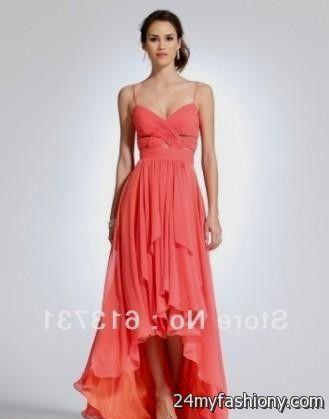 Coral Hi-Low Bridesmaid Dresses