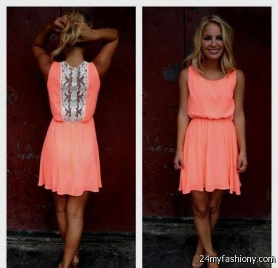 coral lace summer dress 2016-2017 » B2B Fashion